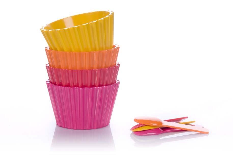 סט 4 קעריות וכפיות גלידה צבעוני - סוהו (המהממת יש לציין..)