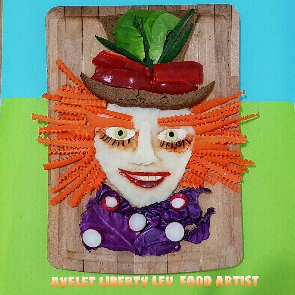 ציור מדהים בצלחת של הכובען מהסרט אליס מבעד למראה