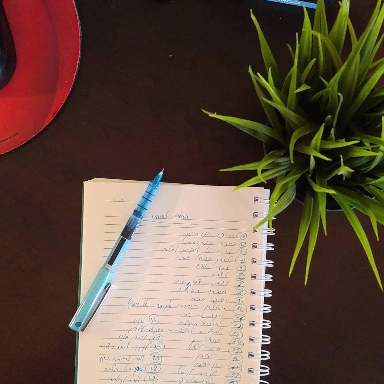 מחברת הרעיונות שלי עם כל הרעיונות שעלו לנו תוך כדי ארוחת צהריים עם הבנות