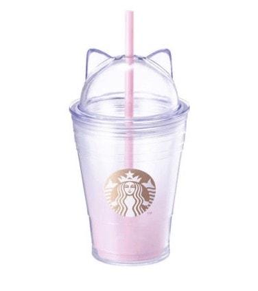 כוס סטארבקס חתלתולה שקופה-ורדרדה (מהדורה מוגבלת)
