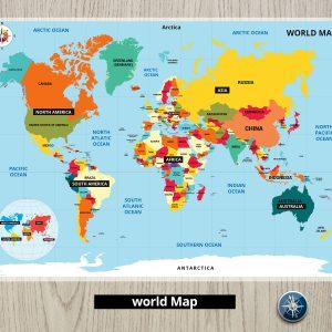 פלייסמט מפת העולם - אנגלית