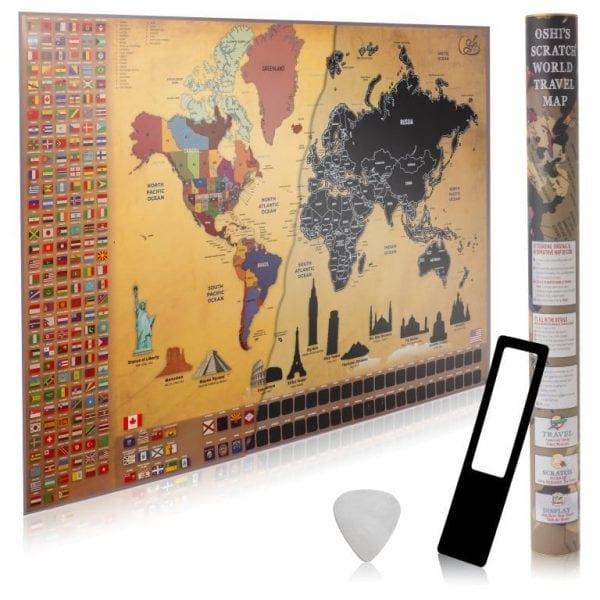 מפת גירוד של העולם OSHI - מה במארז