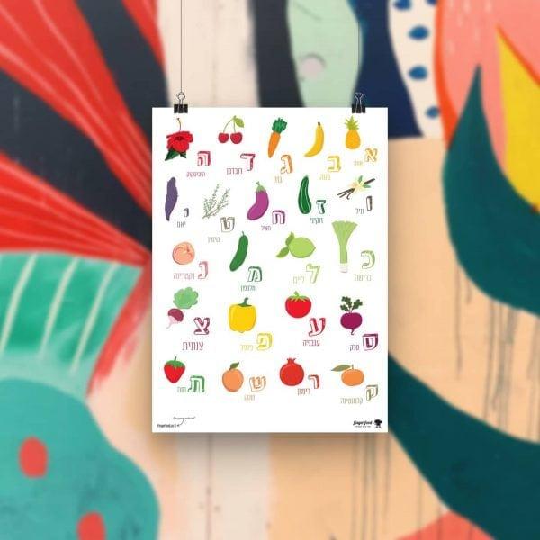 פרינט ירקות ופירות א-ב - להדפסה