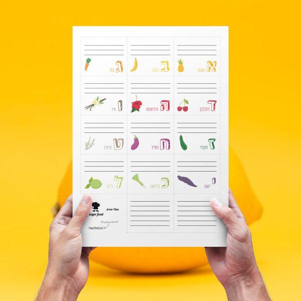 פתקים לכריך לילדים - פתק לקופסת האוכל - פירות וירקות מאוירים