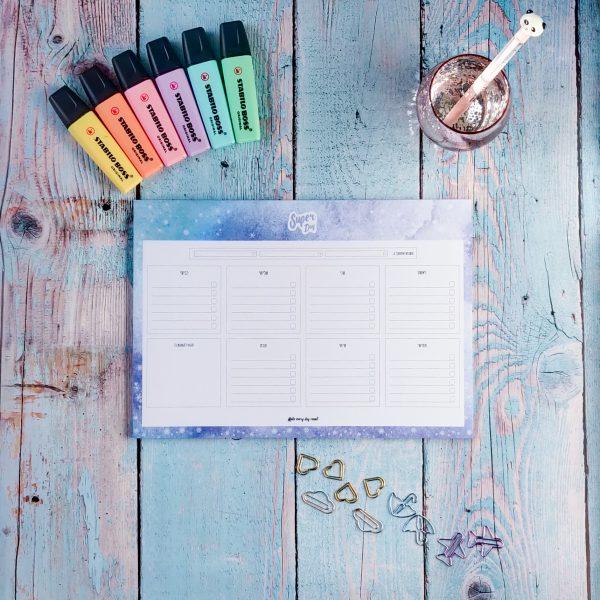 פלאנר תכנון שבועי לילדים והורים - Super Day בצבע Ice Winter