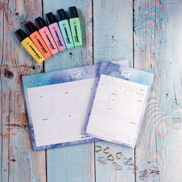 חדש! מארז פלאנרים לתכנון יומי ושבועי לילדים והורים - Super Day בצבע Ice Winter