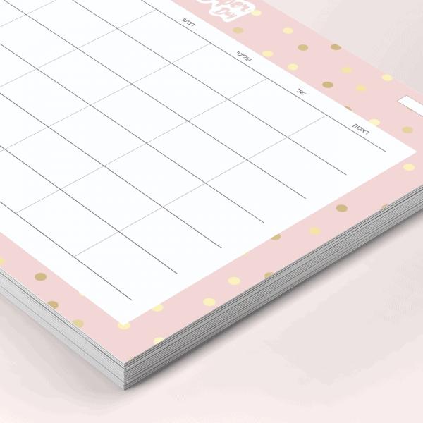 פלאנר תכנון חודשי 2021 - דגם Royal Pink