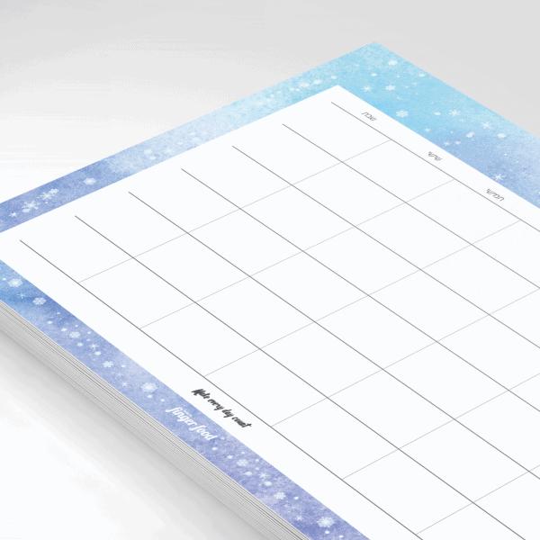 פלאנר תכנון חודשי 2021 - דגם Ice Winter