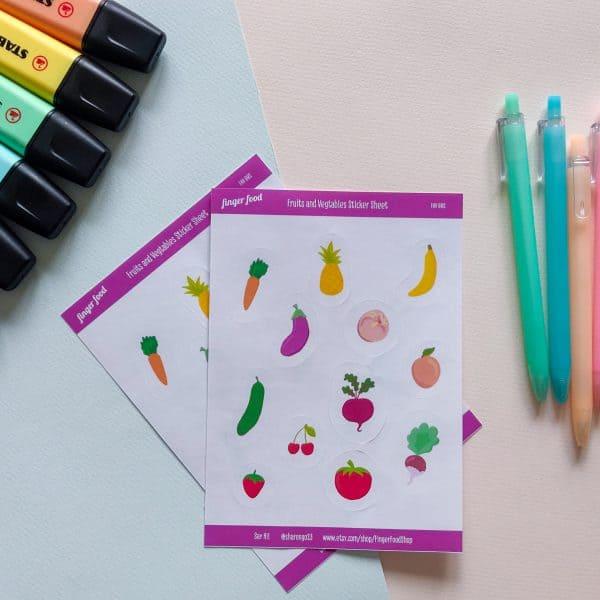מדבקות פירות וירקות צבעוניים