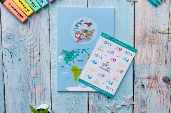 """סט יומן הטיול שלי לילדים + מדבקות - מטיילים בחו""""ל"""